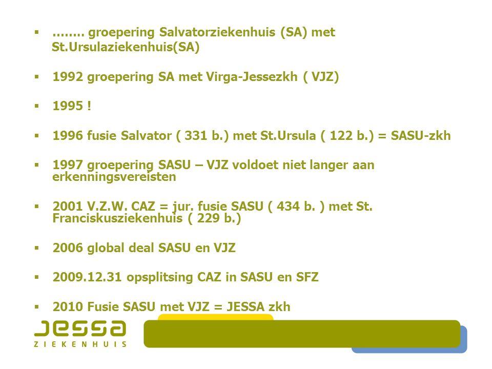 …….. groepering Salvatorziekenhuis (SA) met St.Ursulaziekenhuis(SA)  1992 groepering SA met Virga-Jessezkh ( VJZ)  1995 !  1996 fusie Salvator (