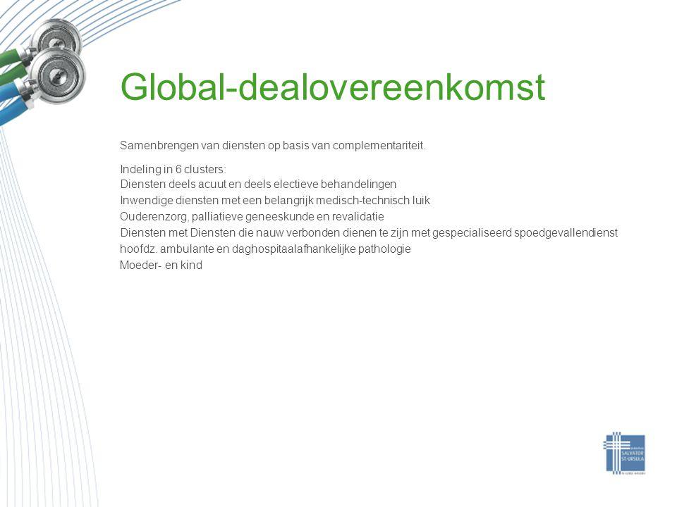 Global-dealovereenkomst Samenbrengen van diensten op basis van complementariteit. Indeling in 6 clusters: Diensten deels acuut en deels electieve beha