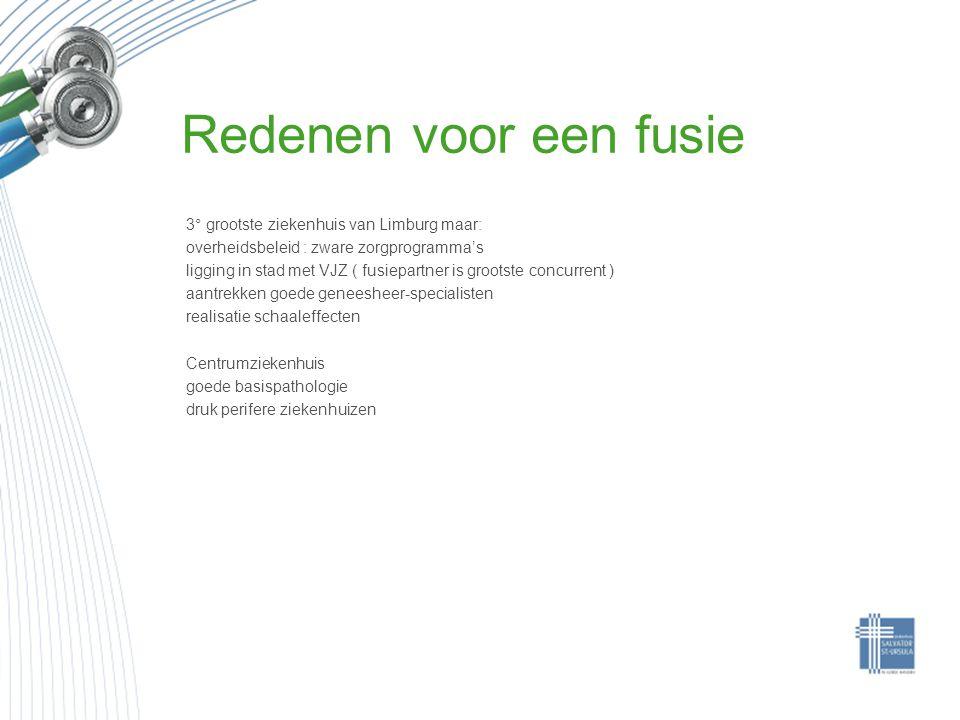 Redenen voor een fusie 3° grootste ziekenhuis van Limburg maar: overheidsbeleid : zware zorgprogramma's ligging in stad met VJZ ( fusiepartner is groo
