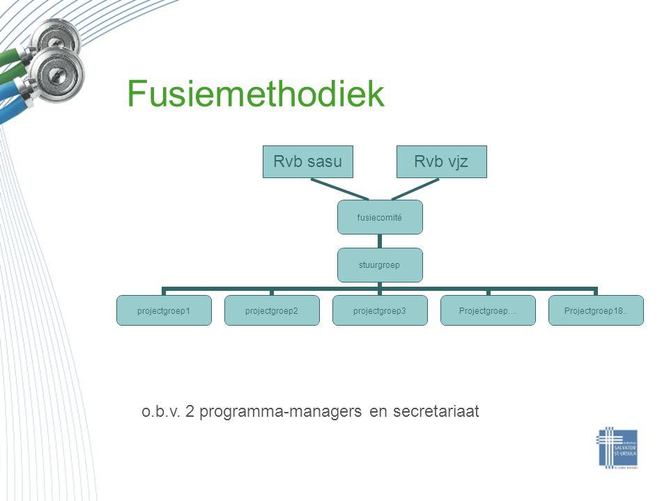 Fusiemethodiek fusiecomité stuurgroep projectgroep1projectgroep2projectgroep3Projectgroep…Projectgroep18.. o.b.v. 2 programma-managers en secretariaat