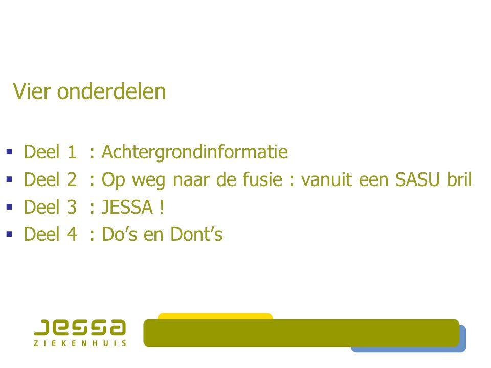 Vier onderdelen DDeel 1 : Achtergrondinformatie DDeel 2 : Op weg naar de fusie : vanuit een SASU bril DDeel 3 : JESSA ! DDeel 4 : Do's en Dont
