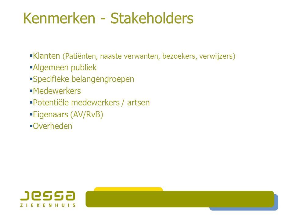 Kenmerken - Stakeholders  Klanten (Patiënten, naaste verwanten, bezoekers, verwijzers)  Algemeen publiek  Specifieke belangengroepen  Medewerkers