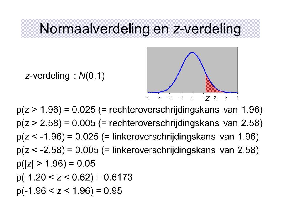 Normaalverdeling en z-verdeling z-verdeling : N(0,1) p(z > 1.96) = 0.025 (= rechteroverschrijdingskans van 1.96) p(z > 2.58) = 0.005 (= rechteroversch