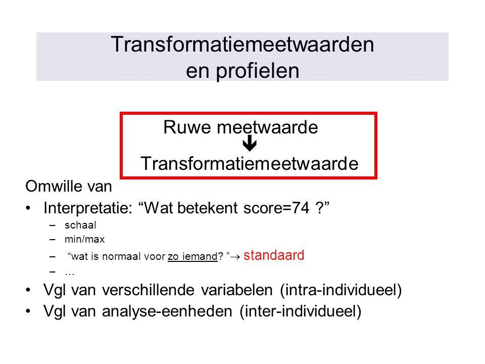 """Transformatiemeetwaarden en profielen Ruwe meetwaarde  Transformatiemeetwaarde Omwille van Interpretatie: """"Wat betekent score=74 ?"""" –schaal –min/max"""