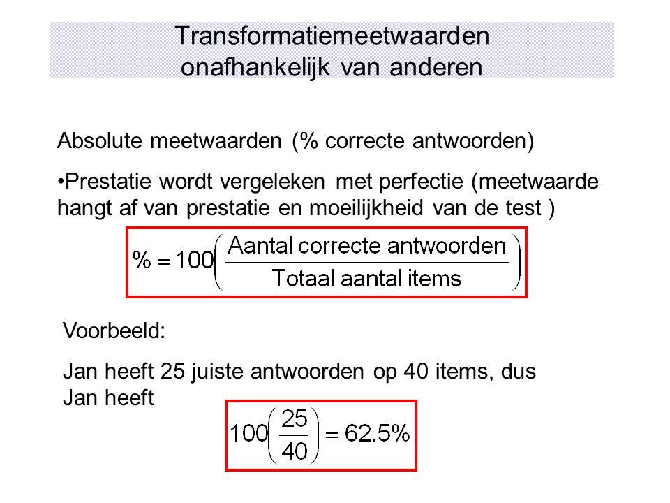 Transformatiemeetwaarden onafhankelijk van anderen Absolute meetwaarden (% correcte antwoorden) Prestatie wordt vergeleken met perfectie (meetwaarde h