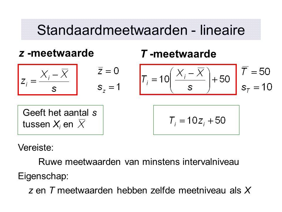 Standaardmeetwaarden - lineaire z -meetwaarde T -meetwaarde Geeft het aantal s tussen X i en z en T meetwaarden hebben zelfde meetniveau als X Ruwe me
