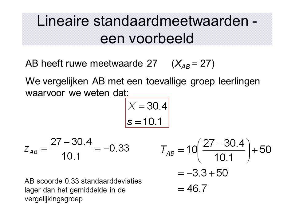Lineaire standaardmeetwaarden - een voorbeeld AB heeft ruwe meetwaarde 27 (X AB = 27) We vergelijken AB met een toevallige groep leerlingen waarvoor w