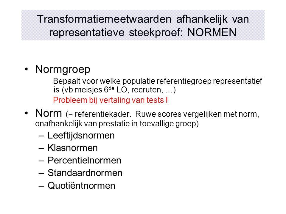 Transformatiemeetwaarden afhankelijk van representatieve steekproef: NORMEN Normgroep Bepaalt voor welke populatie referentiegroep representatief is (