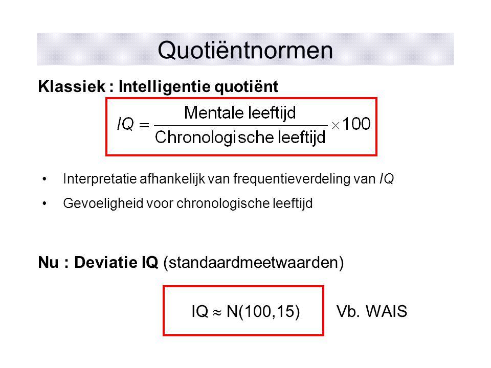Quotiëntnormen Klassiek : Intelligentie quotiënt Nu : Deviatie IQ (standaardmeetwaarden) IQ  N(100,15) Interpretatie afhankelijk van frequentieverdel