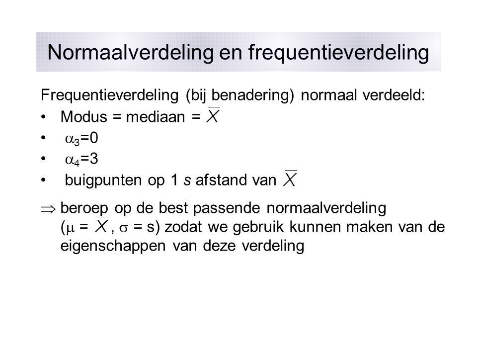 Normaalverdeling en frequentieverdeling Frequentieverdeling (bij benadering) normaal verdeeld: Modus = mediaan =  3 =0  4 =3 buigpunten op 1 s afsta