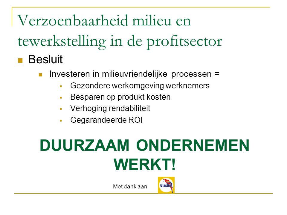 Besluit Investeren in milieuvriendelijke processen = GGezondere werkomgeving werknemers BBesparen op produkt kosten VVerhoging rendabiliteit GGegarandeerde ROI DUURZAAM ONDERNEMEN WERKT.
