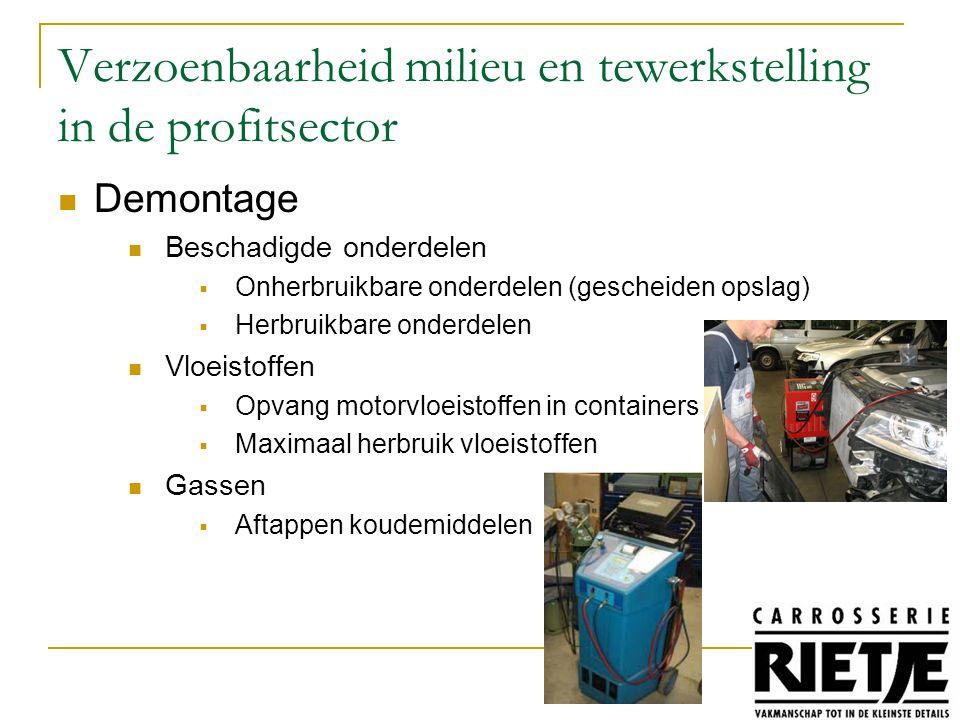 Demontage Beschadigde onderdelen  Onherbruikbare onderdelen (gescheiden opslag)  Herbruikbare onderdelen Vloeistoffen  Opvang motorvloeistoffen in containers  Maximaal herbruik vloeistoffen Gassen  Aftappen koudemiddelen Verzoenbaarheid milieu en tewerkstelling in de profitsector