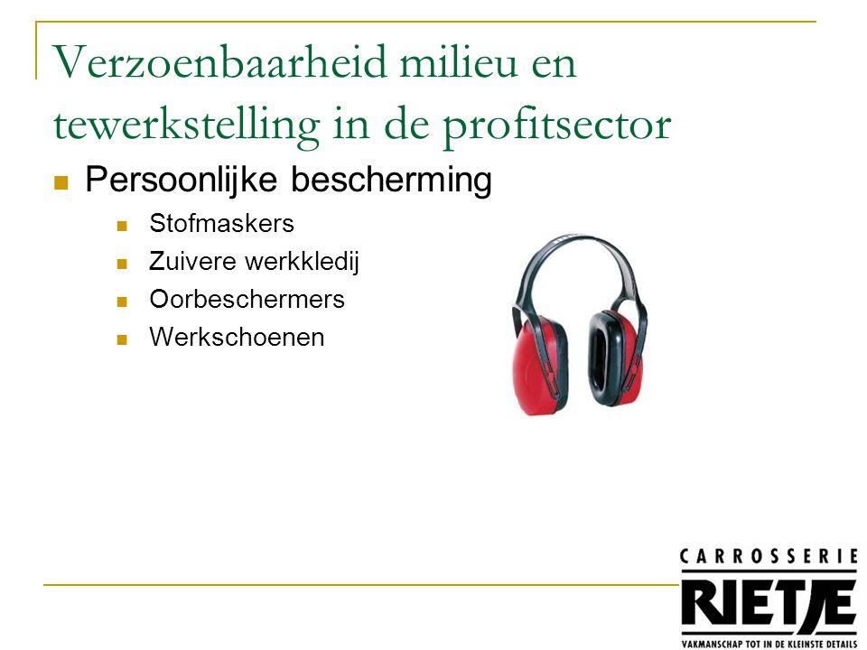 Persoonlijke bescherming Stofmaskers Zuivere werkkledij Oorbeschermers Werkschoenen Verzoenbaarheid milieu en tewerkstelling in de profitsector