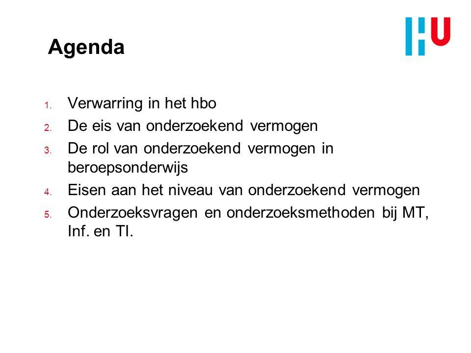 Agenda 1.Verwarring in het hbo 2. De eis van onderzoekend vermogen 3.