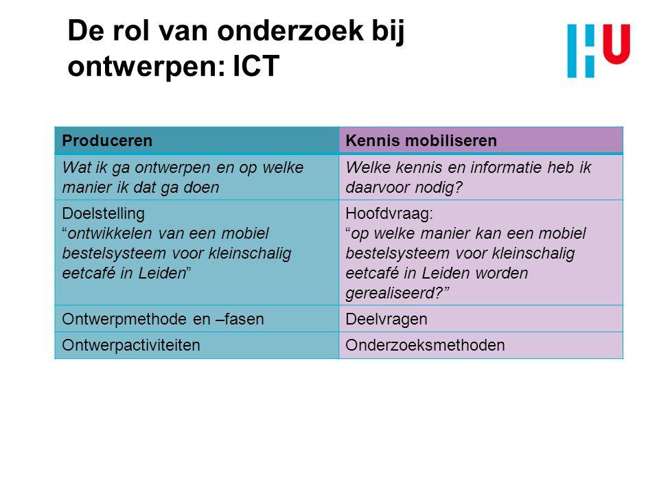 De rol van onderzoek bij ontwerpen: ICT ProducerenKennis mobiliseren Wat ik ga ontwerpen en op welke manier ik dat ga doen Welke kennis en informatie