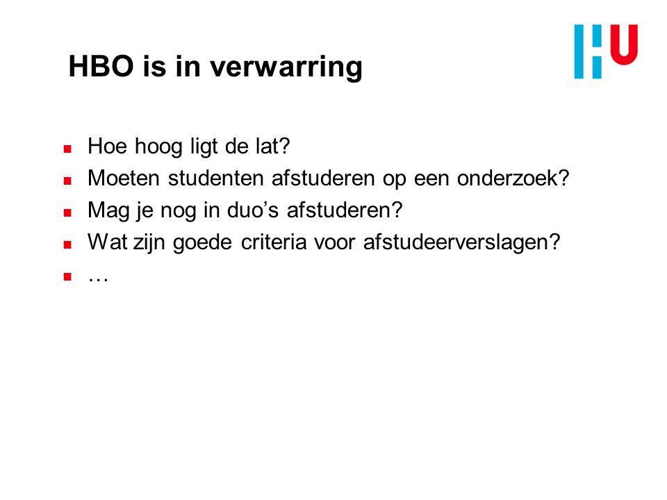 HBO is in verwarring n Hoe hoog ligt de lat.n Moeten studenten afstuderen op een onderzoek.