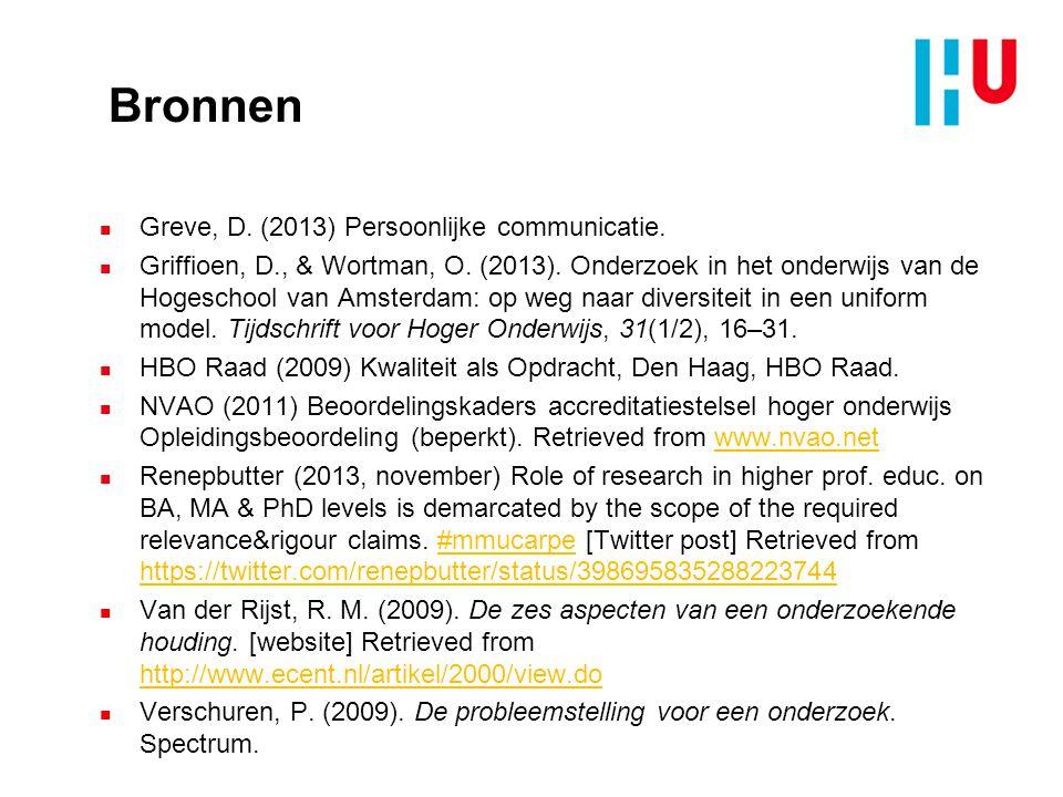 Bronnen n Greve, D.(2013) Persoonlijke communicatie.