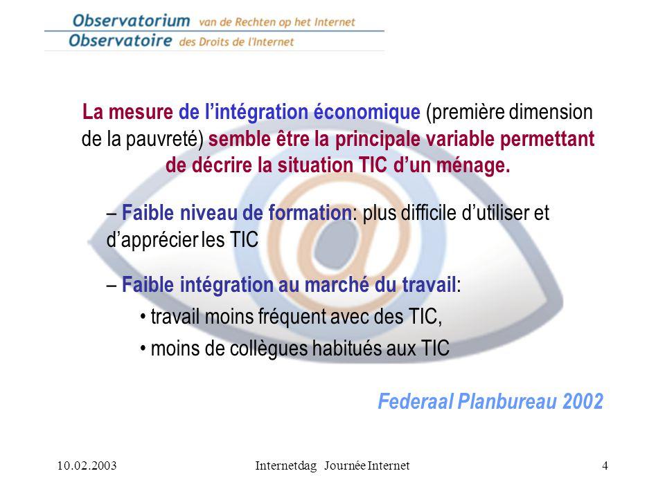 10.02.2003Internetdag Journée Internet4 La mesure de l'intégration économique (première dimension de la pauvreté) semble être la principale variable permettant de décrire la situation TIC d'un ménage.