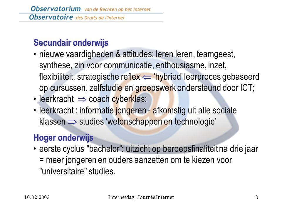 10.02.2003Internetdag Journée Internet8 Secundair onderwijs nieuwe vaardigheden & attitudes: leren leren, teamgeest, synthese, zin voor communicatie,