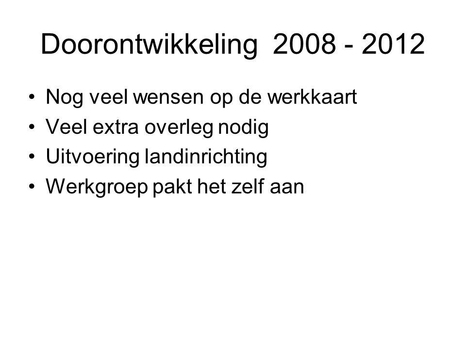 Doorontwikkeling 2008 - 2012 Nog veel wensen op de werkkaart Veel extra overleg nodig Uitvoering landinrichting Werkgroep pakt het zelf aan
