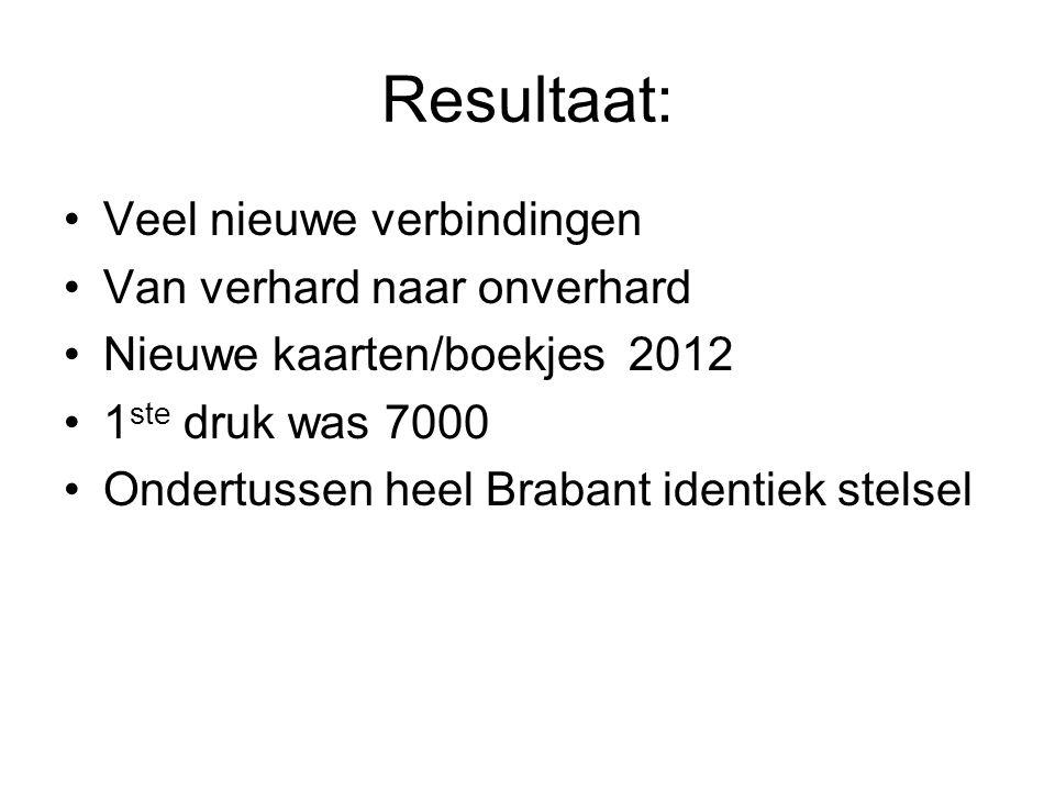 Resultaat: Veel nieuwe verbindingen Van verhard naar onverhard Nieuwe kaarten/boekjes 2012 1 ste druk was 7000 Ondertussen heel Brabant identiek stels