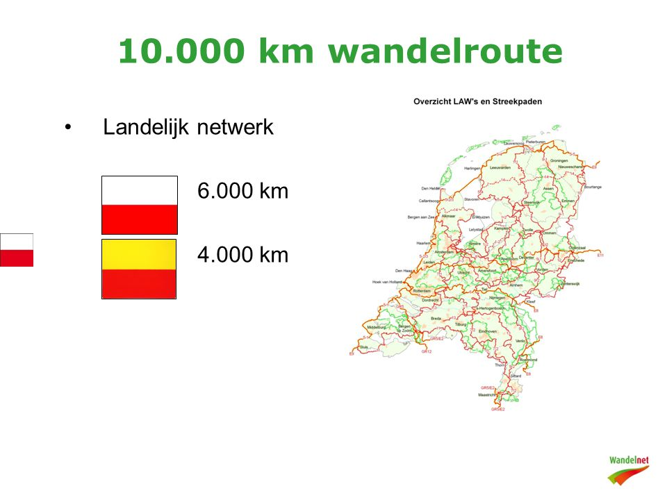10.000 km wandelroute Landelijk netwerk 6.000 km 4.000 km