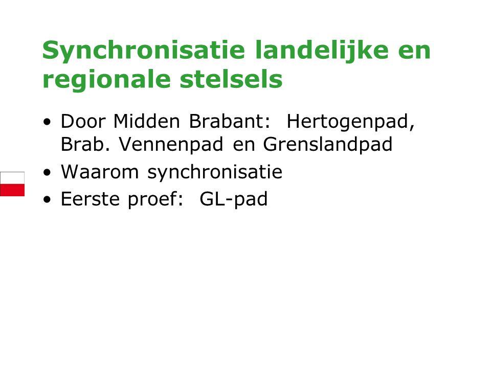 Synchronisatie landelijke en regionale stelsels Door Midden Brabant: Hertogenpad, Brab. Vennenpad en Grenslandpad Waarom synchronisatie Eerste proef: