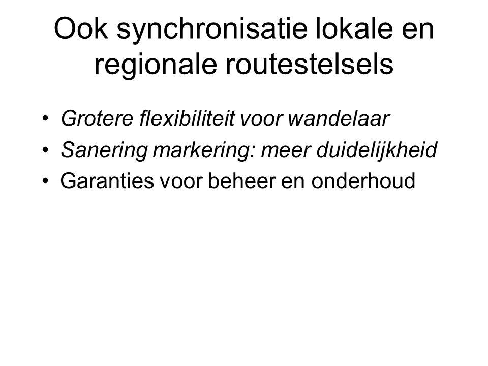 Ook synchronisatie lokale en regionale routestelsels Grotere flexibiliteit voor wandelaar Sanering markering: meer duidelijkheid Garanties voor beheer