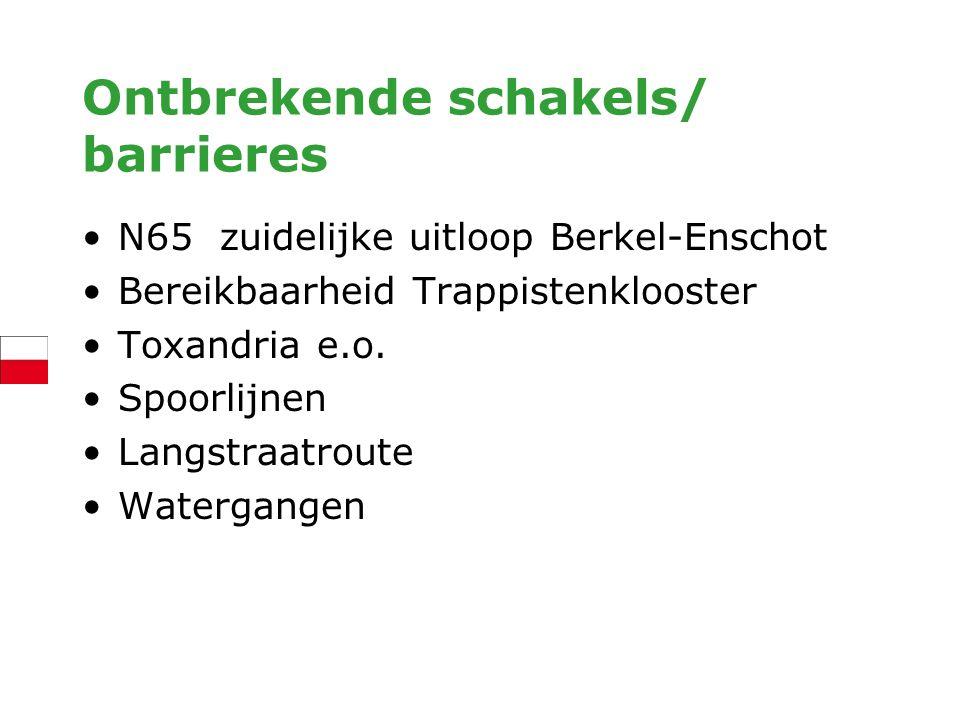 Ontbrekende schakels/ barrieres N65 zuidelijke uitloop Berkel-Enschot Bereikbaarheid Trappistenklooster Toxandria e.o. Spoorlijnen Langstraatroute Wat