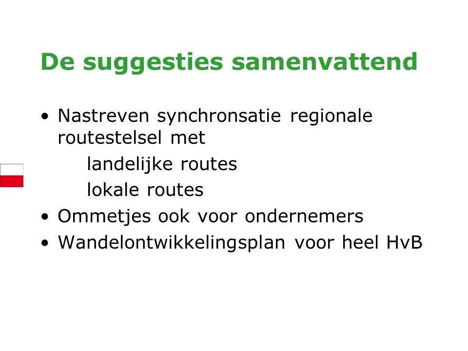De suggesties samenvattend Nastreven synchronsatie regionale routestelsel met landelijke routes lokale routes Ommetjes ook voor ondernemers Wandelontw