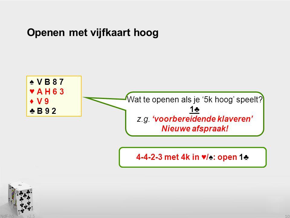 v2.5 NdF-h5 11 Openen met vijfkaart hoog ♠♥♦♣♠♥♦♣ V B 8 7 A H 6 3 V 9 B 9 Wat te openen als je '5k hoog' speelt.