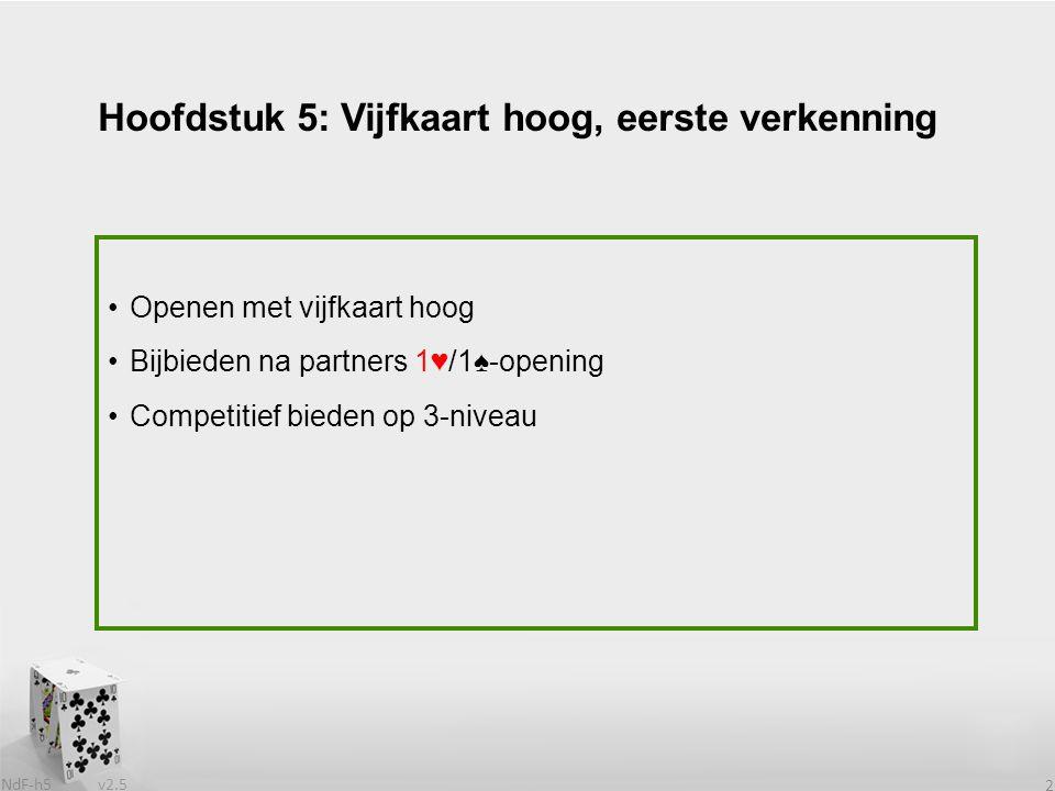 v2.5 NdF-h5 3 Steeds populairder In Amerika al eerder populair dan in Nederland Langzaam maar zeker alle Nederlandse topspelers overstag Heeft (grote) voor- en (kleine) nadelen Openen met vijfkaart hoog