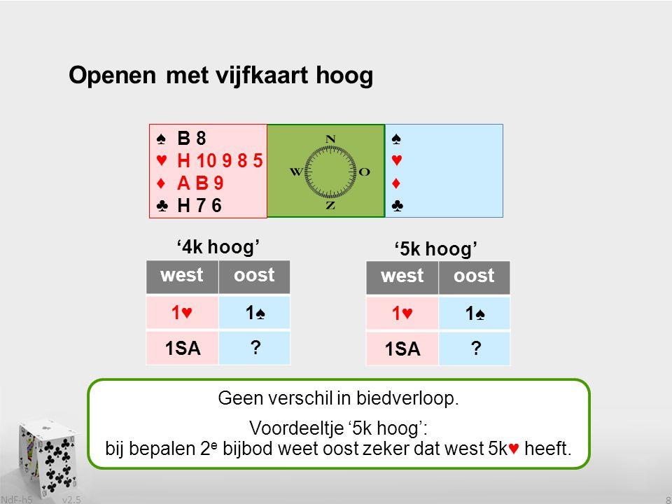 v2.5 NdF-h5 9 ♠♥♦♣♠♥♦♣ westoost 1♥ ♠♥♦♣♠♥♦♣ Openen met vijfkaart hoog .