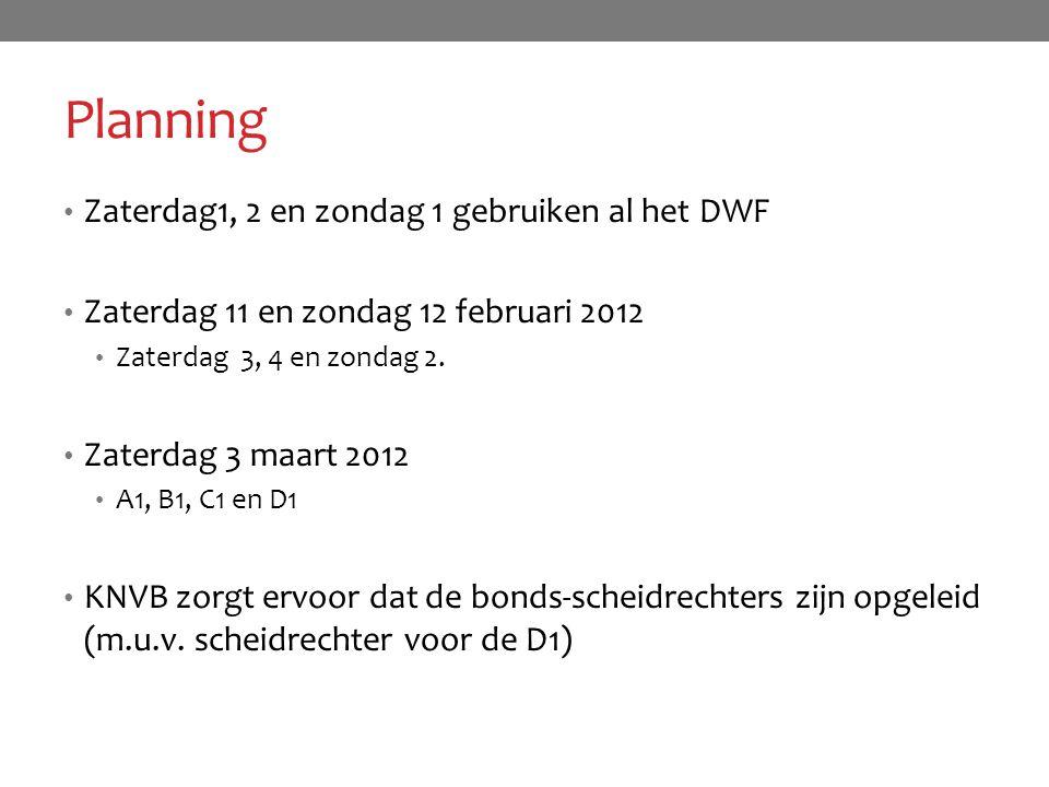Planning Zaterdag1, 2 en zondag 1 gebruiken al het DWF Zaterdag 11 en zondag 12 februari 2012 Zaterdag 3, 4 en zondag 2. Zaterdag 3 maart 2012 A1, B1,