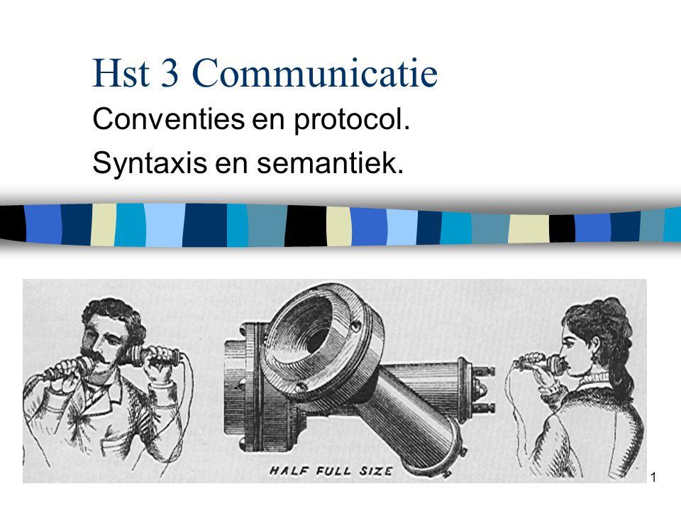 1 Hst 3 Communicatie Conventies en protocol. Syntaxis en semantiek.
