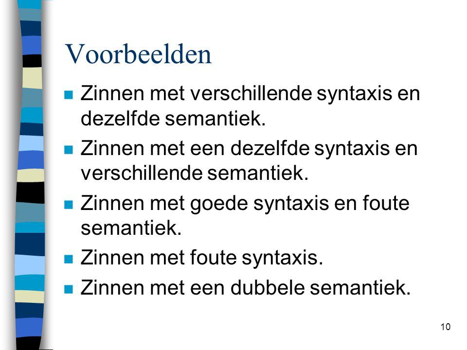 10 Voorbeelden n Zinnen met verschillende syntaxis en dezelfde semantiek. n Zinnen met een dezelfde syntaxis en verschillende semantiek. n Zinnen met