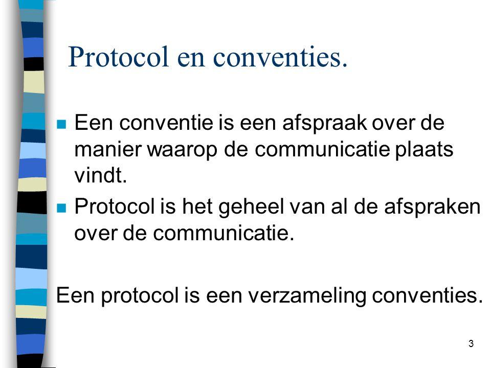 3 Protocol en conventies. n Een conventie is een afspraak over de manier waarop de communicatie plaats vindt. n Protocol is het geheel van al de afspr