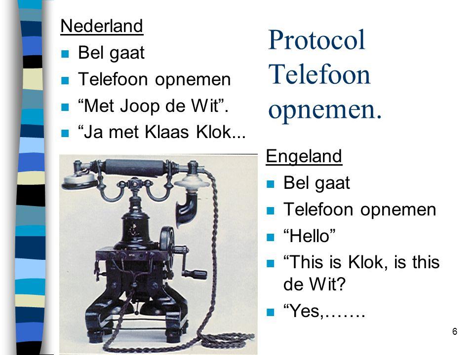 "6 Protocol Telefoon opnemen. Nederland n Bel gaat n Telefoon opnemen n ""Met Joop de Wit"". n ""Ja met Klaas Klok... Engeland n Bel gaat n Telefoon opnem"