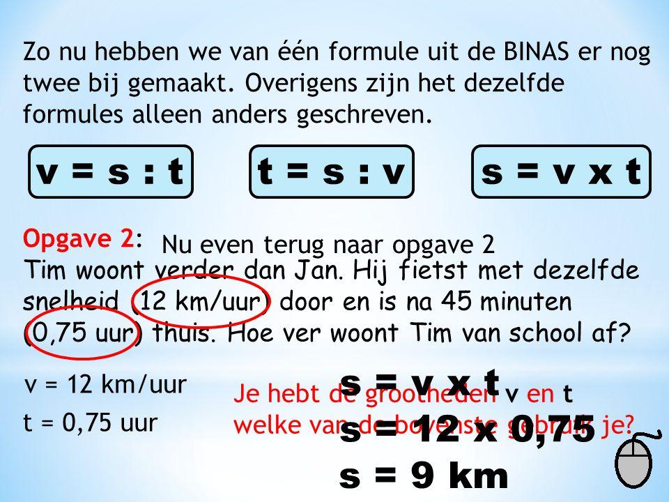 Opgave 2: Tim woont verder dan Jan. Hij fietst met dezelfde snelheid (12 km/uur) door en is na 45 minuten (0,75 uur) thuis. Hoe ver woont Tim van scho