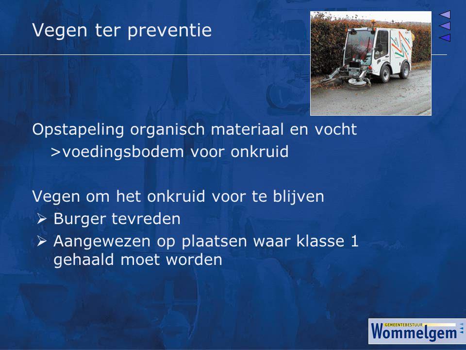 Vegen ter preventie Opstapeling organisch materiaal en vocht >voedingsbodem voor onkruid Vegen om het onkruid voor te blijven  Burger tevreden  Aang