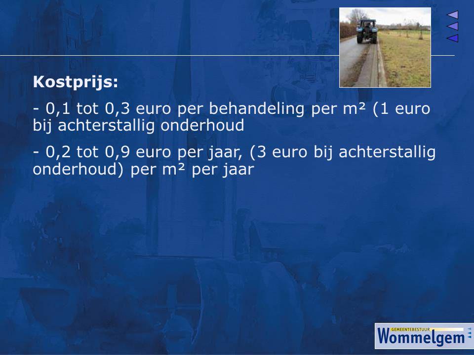 Kostprijs: - 0,1 tot 0,3 euro per behandeling per m² (1 euro bij achterstallig onderhoud - 0,2 tot 0,9 euro per jaar, (3 euro bij achterstallig onderh