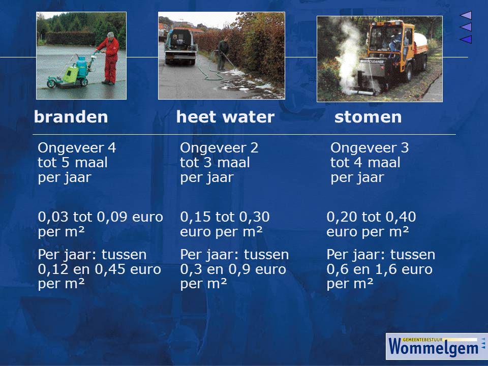 brandenheet waterstomen Ongeveer 4 tot 5 maal per jaar Ongeveer 3 tot 4 maal per jaar Ongeveer 2 tot 3 maal per jaar 0,15 tot 0,30 euro per m² Per jaa