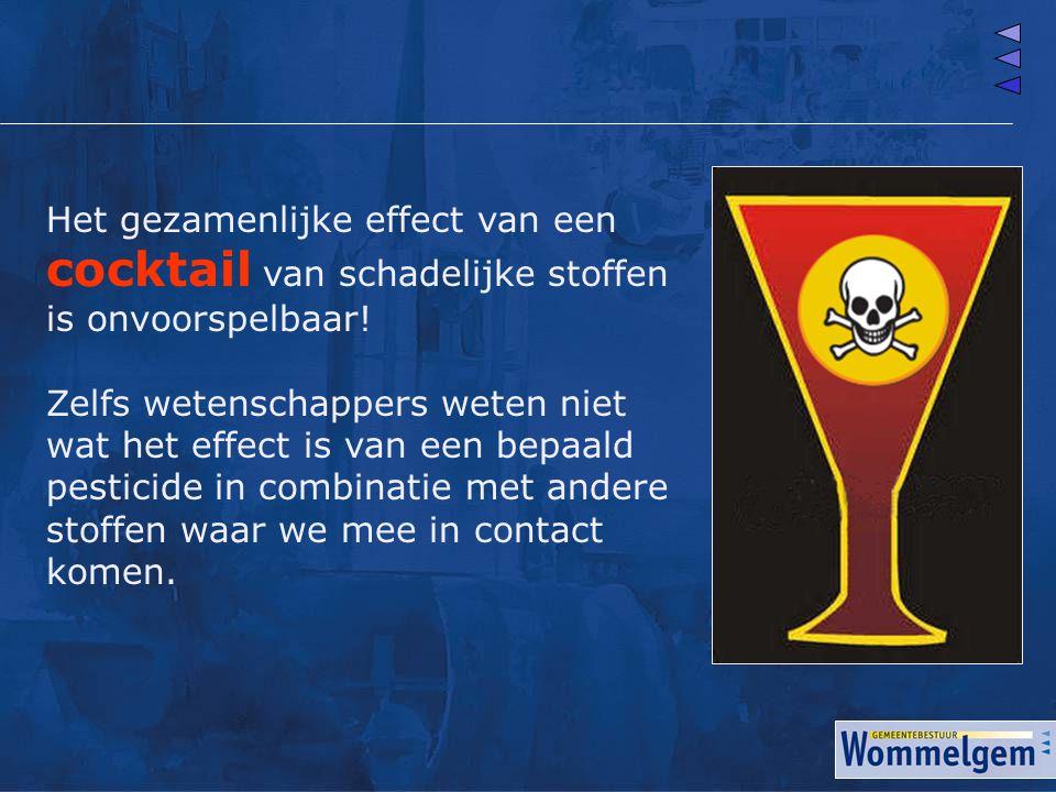 Het gezamenlijke effect van een cocktail van schadelijke stoffen is onvoorspelbaar! Zelfs wetenschappers weten niet wat het effect is van een bepaald