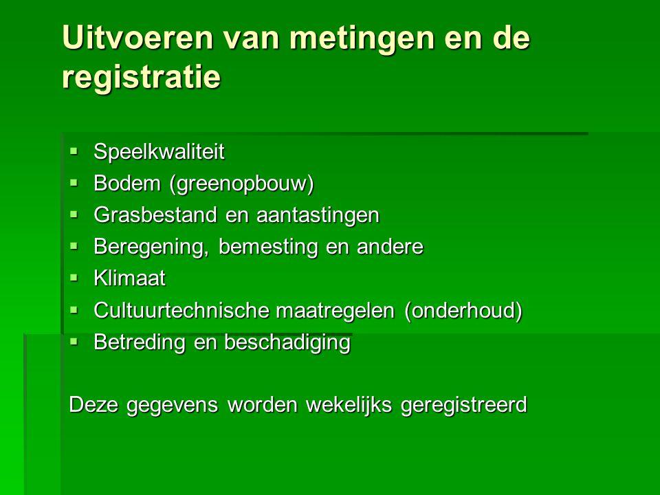 Uitvoeren van metingen en de registratie  Speelkwaliteit  Bodem (greenopbouw)  Grasbestand en aantastingen  Beregening, bemesting en andere  Klim