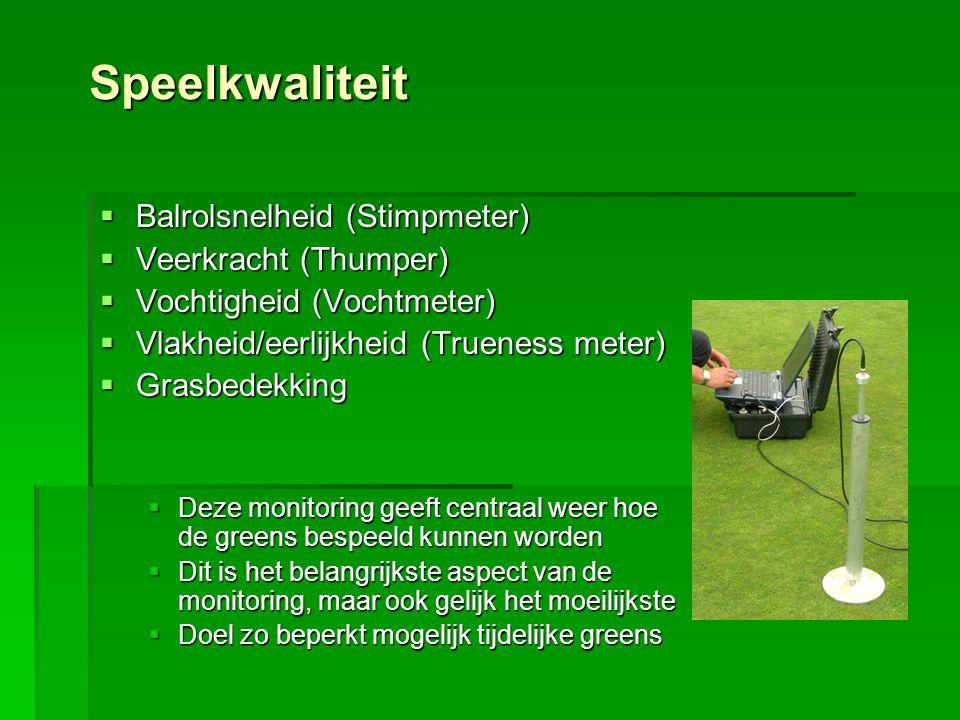 Speelkwaliteit  Balrolsnelheid (Stimpmeter)  Veerkracht (Thumper)  Vochtigheid (Vochtmeter)  Vlakheid/eerlijkheid (Trueness meter)  Grasbedekking
