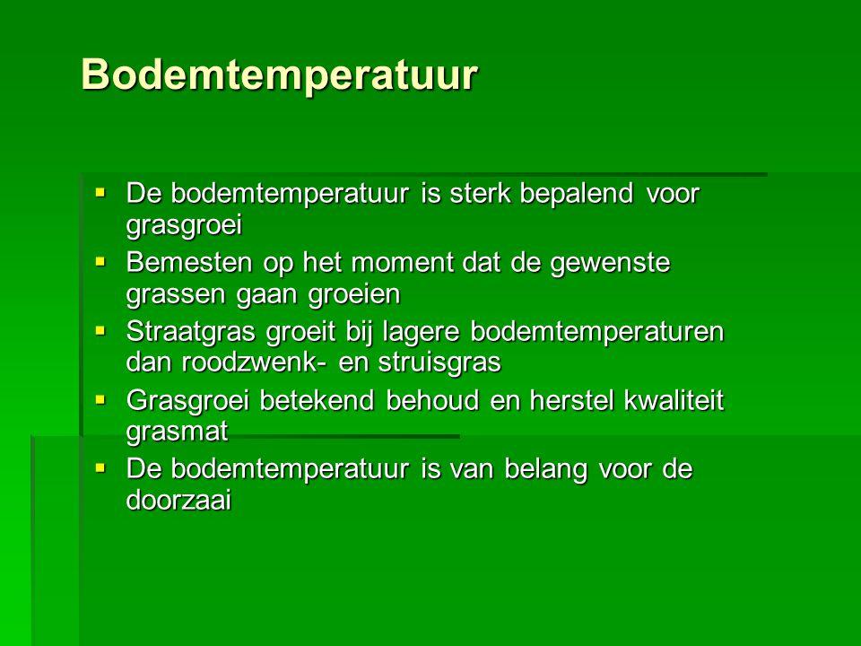 Bodemtemperatuur  De bodemtemperatuur is sterk bepalend voor grasgroei  Bemesten op het moment dat de gewenste grassen gaan groeien  Straatgras gro