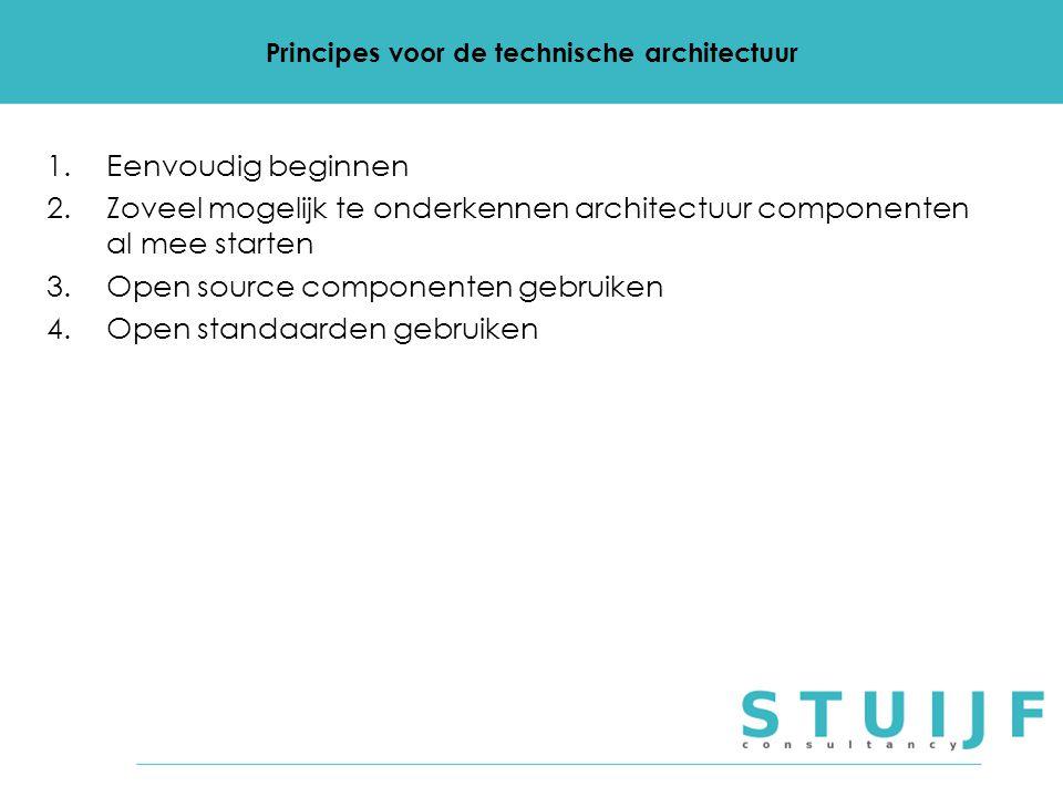 Principes voor de technische architectuur 1.Eenvoudig beginnen 2.Zoveel mogelijk te onderkennen architectuur componenten al mee starten 3.Open source componenten gebruiken 4.Open standaarden gebruiken