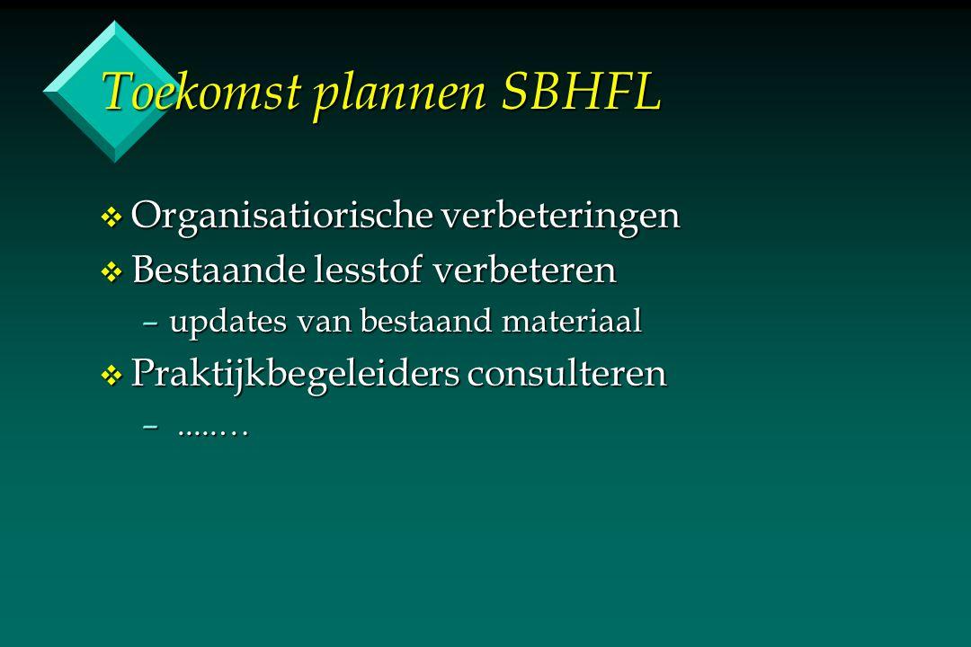 Toekomst plannen SBHFL v Organisatiorische verbeteringen v Bestaande lesstof verbeteren –updates van bestaand materiaal v Praktijkbegeleiders consulte