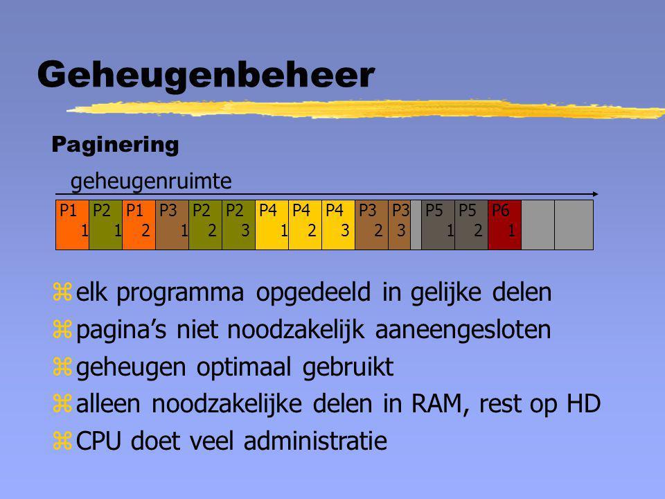 Geheugenbeheer geheugenruimte P1 1 P2 1 P3 3 P4 1 P5 1 P6 1 Paginering P1 2 P2 2 P2 3 P3 1 P3 2 P4 2 P4 3 P5 2 zelk programma opgedeeld in gelijke del