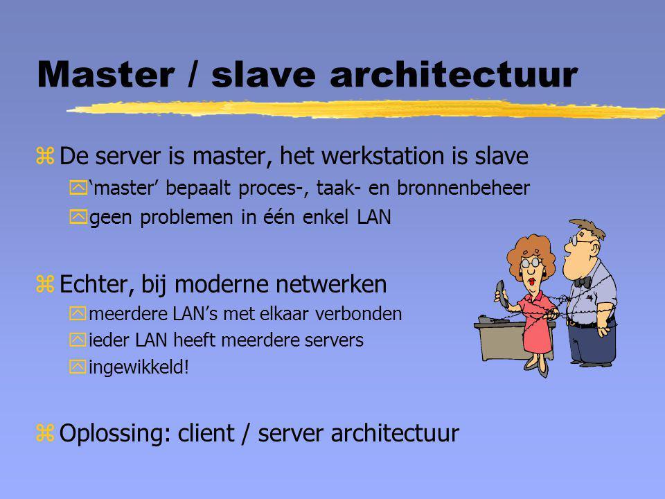 Master / slave architectuur zDe server is master, het werkstation is slave y'master' bepaalt proces-, taak- en bronnenbeheer ygeen problemen in één en